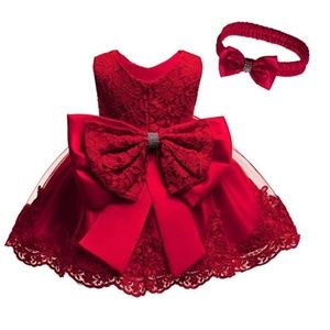 NEW Baby Girls Christmas holiday Red Dress 2pc Set